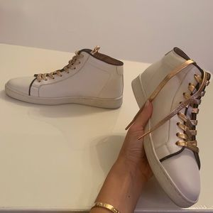 Frye Alexis High Top Lace up Leather Sneakers